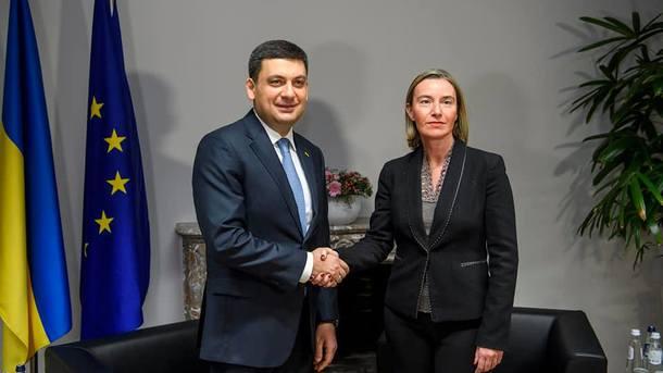 Гройсман в Брюсселе проводит переговоры с Могерини по усилению давления на РФ